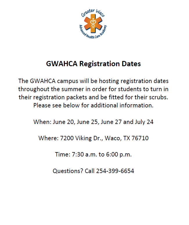 GWAHCA Registration Dates