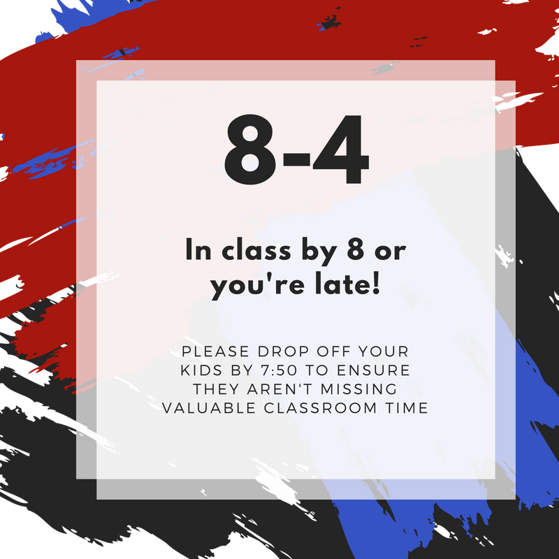 In class by 8 or you're late!