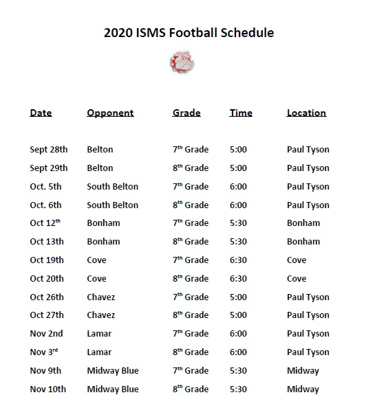 Football Scheduled- Updated Times