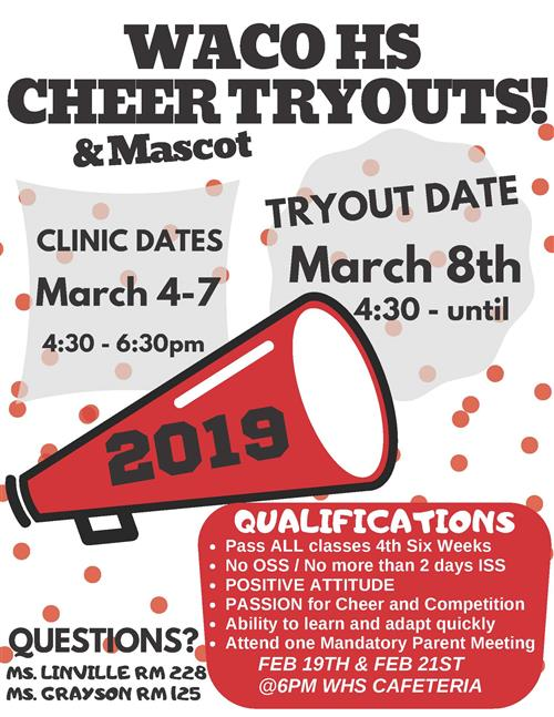 Waco High Cheer and Mascot Tryouts!