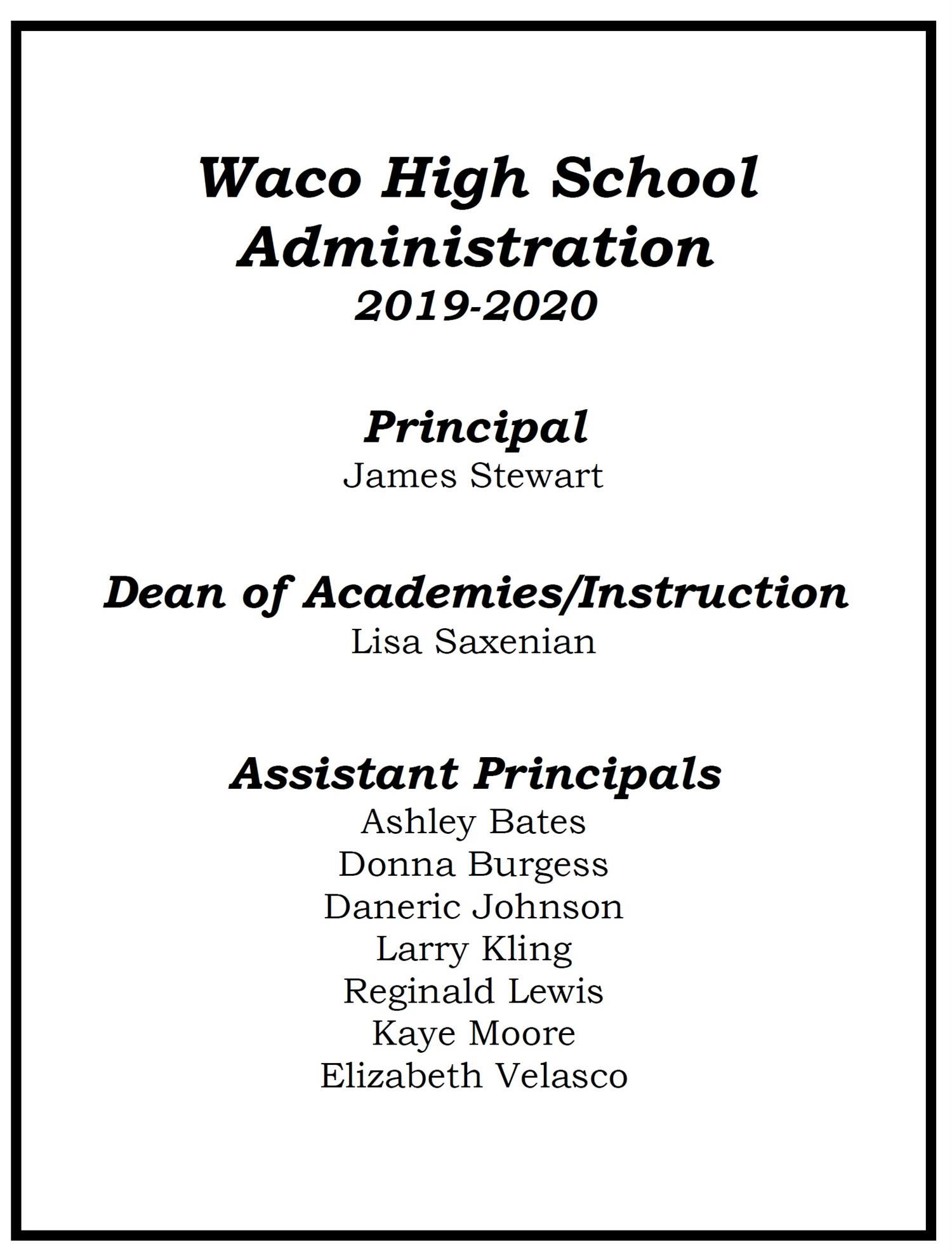 2019-2020 Administration