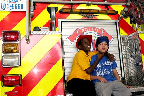 Students on firetruck