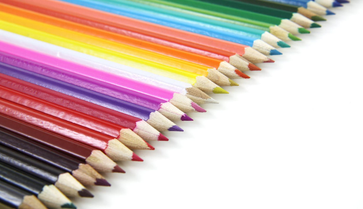 row of sharpened colored pencils
