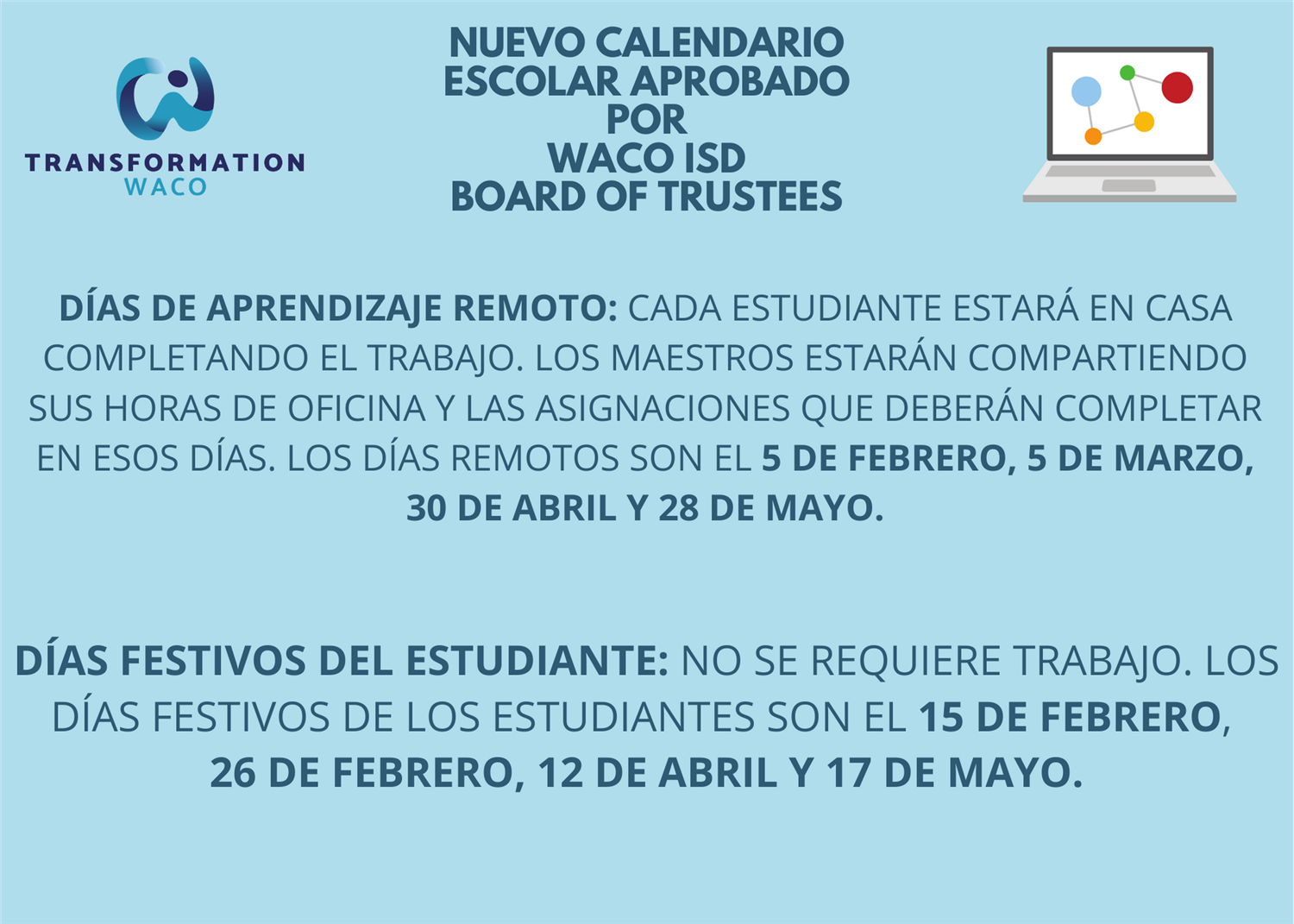 Remote Instruction Calendar in Spanish
