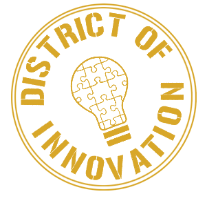 district of innovation logo - light bulb with puzzle pieces