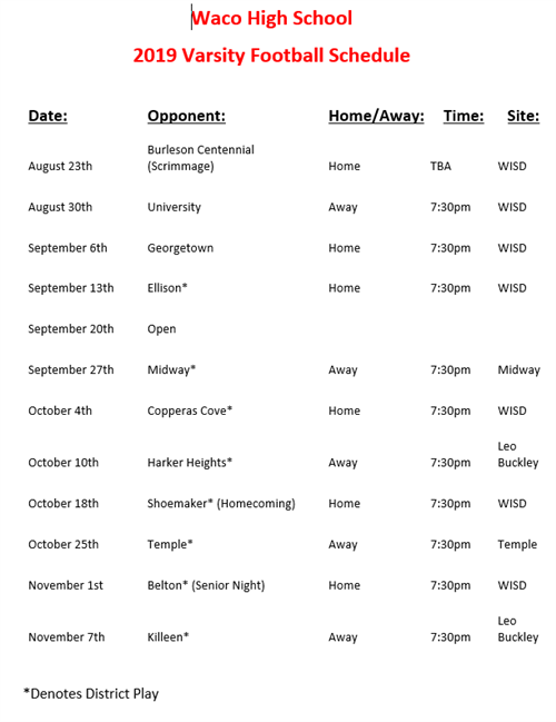2019 Football Schedules