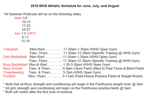 Waco High Summer Athletic Schedule
